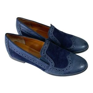 Franco Sarto Blue L Tibby Suede Slip On Loafers